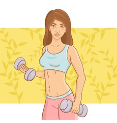 Sporty beautiful girl doing a fitness workout vector