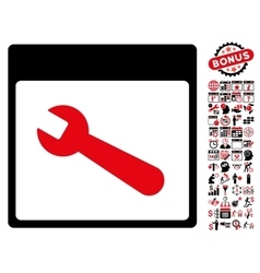 Wrench tool calendar page flat icon with vector