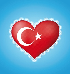 Heart shape flag of turkey vector