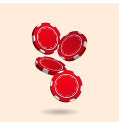 Falling red poker casino chips isolated on white vector