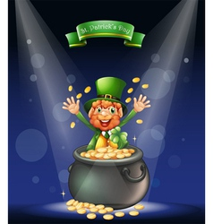 A man with a pot full of coins at the center of vector image