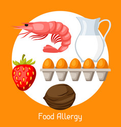 Food allergy for medical vector