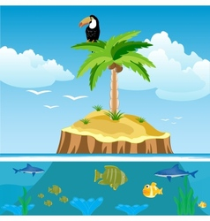 Desert island and undersea world vector