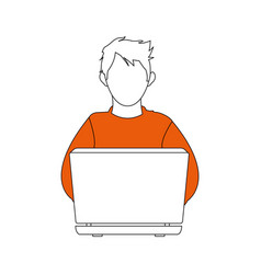 Color silhouette image cartoon hacker sitting at vector