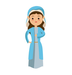 Cute virgin mary character manger christmas vector
