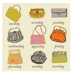 Set of woman bags vector