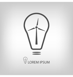 Bulb with wind turbine as eco energy symbol vector