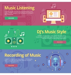 Set of flat design concepts for music listening vector
