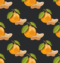 Seamless pattern with mandarins on dark background vector