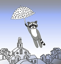 Raccoon flying with open umbrella vector