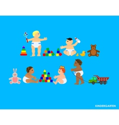 Funny little flat children play in the garden vector