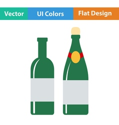 Flat design icon of wine and champagne bottles vector