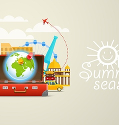 Vacation travelling composition with the red open vector
