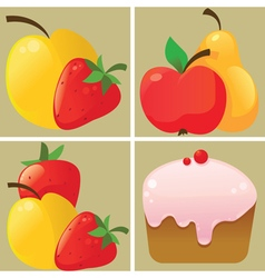 Fruit and cake icons vector image