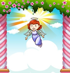 Angel flying in the sky vector