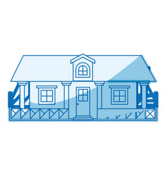 Blue shading silhouette of country house with vector