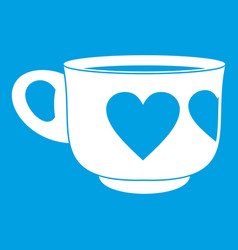 Cup icon white vector