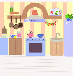 Cute cozy kitchen flat cartoon interior vector