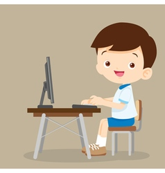 Cute student boy working with computer vector