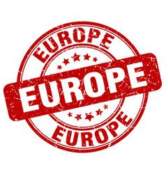 Europe red grunge round vintage rubber stamp vector