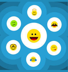 Flat icon expression set of cheerful frown vector