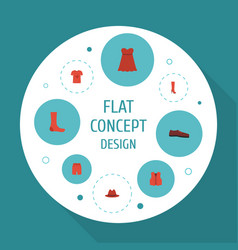 Flat icons hosiery waistcoat swimming trunk and vector