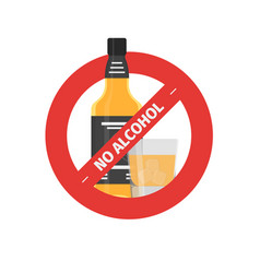 flat stop drinking icon of alcohol bottle vector image vector image