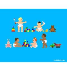 Funny little flat children play in the garden vector