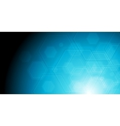Geometric hexagon elements on blue background vector