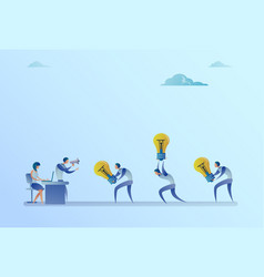 Group of business people carry light bulbs to vector