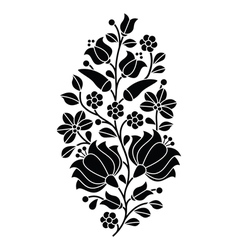 Hungarian black folk pattern - kalocsai embroidery vector