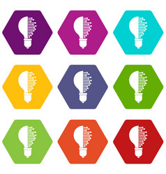 Lightbulb with microcircuit icon set color vector
