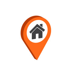 Map pointer with home symbol flat isometric icon vector