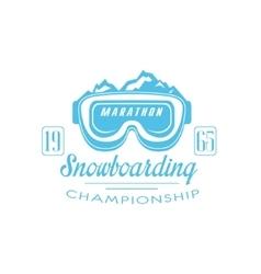 Marathon snowboarding emblem design vector