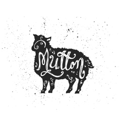 Mutton lettering in silhouette vector