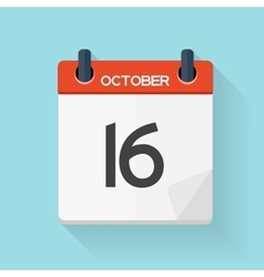October 17 calendar flat daily icon vector