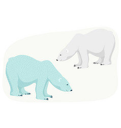 polar bear isolated blue grey character on white vector image