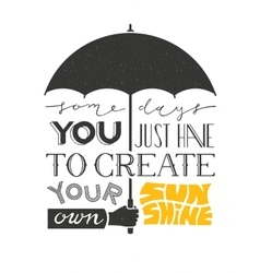Poster with hand holding umbrella and text vector image