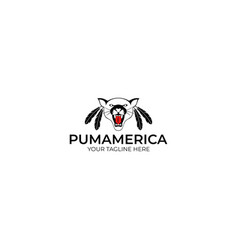 puma with feathers logo template vector image