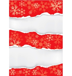 Red grung christmas torn paper background vector image
