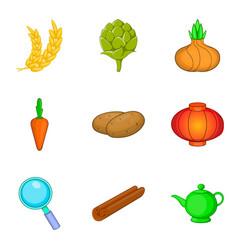 rye icons set cartoon style vector image vector image