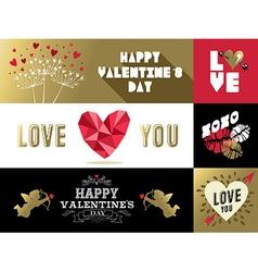 Saint Valentines retro set label banner gold pink vector image