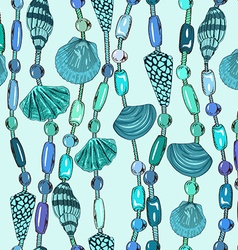 Seamless pattern of seashell jewelry vector