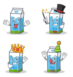Set of milk box character with crazy magician king vector