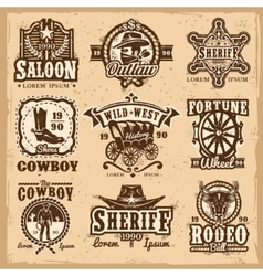 Set of wild west logos vector image