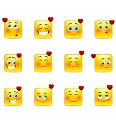 Set valentine emoticons vector image vector image