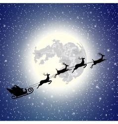 silhouette Santa Claus sleigh vector image