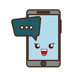 smartphone with speech bubbles icon vector image