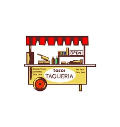 Taco Stand Taqueria Stand Woodcut vector image vector image