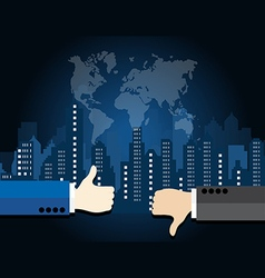 Thumb up and thumb down on city landscape vector